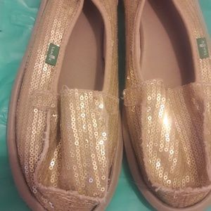 Gold sequined sparkly Sanuk Sidewalk Surfers shoes